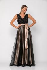 Bellino,  Φόρεμα cocktail μακρύ κρουαζέ με θηλυκό ντεκολτέ (ΜΑΥΡΟ, L)