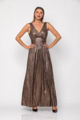Bellino,  Φόρεμα κρουαζέ σε ρίγα foil με ανοιχτή πλάτη (ΜΠΡΟΝΖΕ, L)