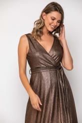 Bellino,  Φόρεμα lurex κρουαζέ με δέσιμο στη μέση (ΜΠΡΟΝΖΕ, L)