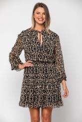 Bellino,  Φόρεμα mini εμπριμέ κρουαζέ με δέσιμο στο λαιμό (ΜΑΥΡΟ, L)