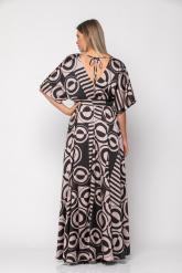 Bellino,  Φόρεμα καφτάνι εμπριμέ σε άνετη γραμμή με extra ζώνη (ΜΑΥΡΟ, L)