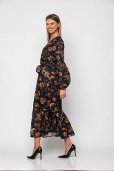 Bellino,  Φόρεμα midi εμπριμέ κρουαζέ με ζώνη στη μέση (ΜΩΒ, L)