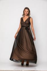 Bellino,  Φόρεμα μεταλιζέ κρουαζέ με ζώνη στη μέση (ΜΠΡΟΝΖΕ, XXL)