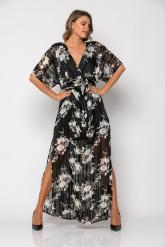 Bellino,  Φόρεμα μακρύ κρουαζέ με ανοίγματα στο πλάι (ΜΑΥΡΟ, L)