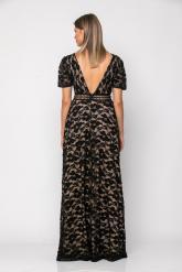 Bellino,  Φόρεμα δαντέλα με τρέσα δερμάτινη εμπρός και στη μέση (ΜΑΥΡΟ, L)
