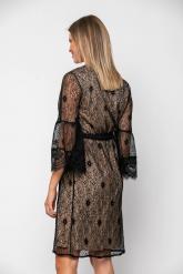 Bellino,  Φόρεμα cocktail midi κρουαζέ σε δαντέλα με ζώνη στη μέση (ΜΑΥΡΟ, L)