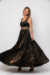 Bellino,  Φόρεμα cocktail maxi σε devore φλόκο (ΜΠΡΟΝΖΕ, L)