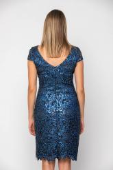Bellino,  Φόρεμα midi σε παγιέτα με ανοιχτή πλάτη (ΜΠΛΕ, L)